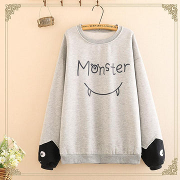 Modakawa Sweatshirt Gray / One Size Monster Letter Cartoon Face Sweatshirt