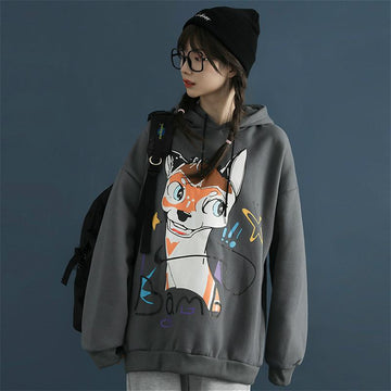 Modakawa Sweatshirt Gray / S Deer Cartoon Print Loose Hoodie