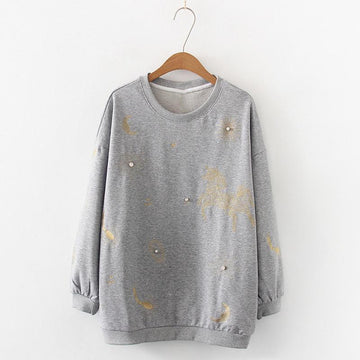 Modakawa Sweatshirt Gray Star Moon Horse Embroidery Sweatshirt Loose