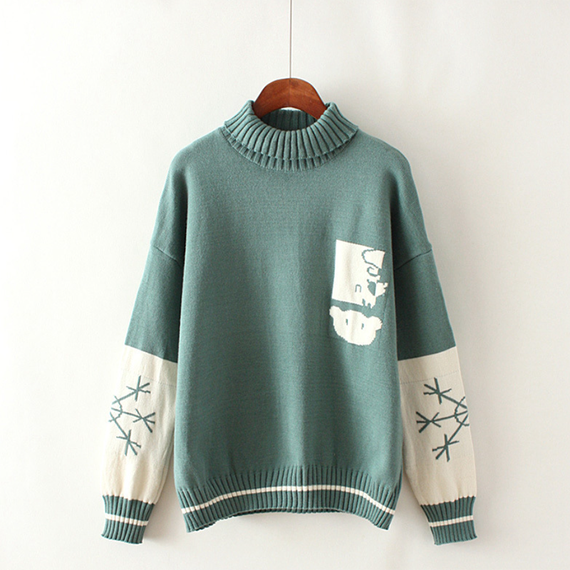 Modakawa Sweatshirt Green Bear Snowflake Pattern Sweater High Collar