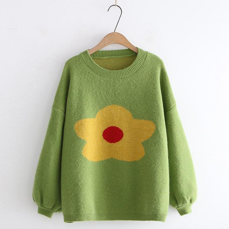 Modakawa Sweatshirt Green Flower Pattern Drop Shoulder Sweater