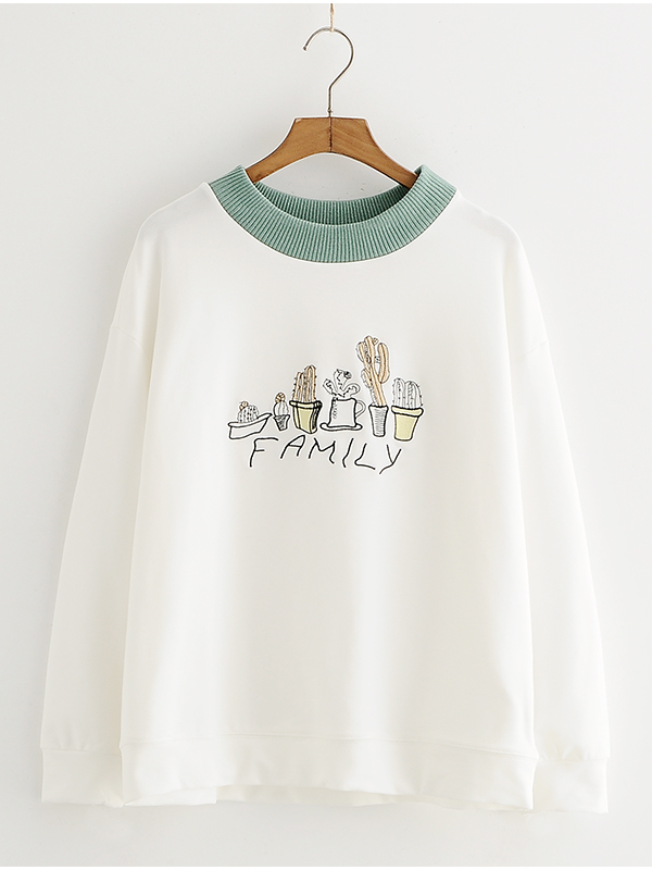 Modakawa Sweatshirt Green Kawaii Thin Plant Embroidery Sweatshirt