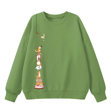 Modakawa Sweatshirt Green / M Animal Cartoon Print Round Neck Sweatshirt