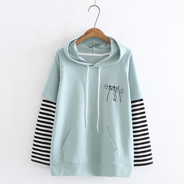 Modakawa Sweatshirt Green / M Cat Stripe College Style Hoodie