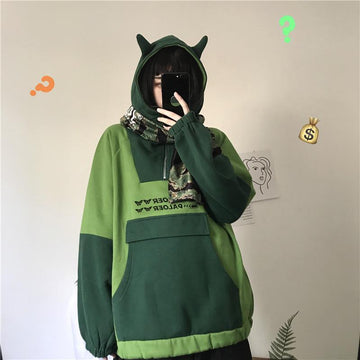 Modakawa Sweatshirt Green / M Ears Pocket Zipper Oversize Hoodie Inner Fleece