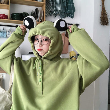 Modakawa Sweatshirt Green / M Frog Eyes Ears Button Loose Hoodie