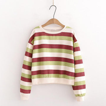 Modakawa Sweatshirt Green / One Size Candy Color Stripe Short Sweatshirt
