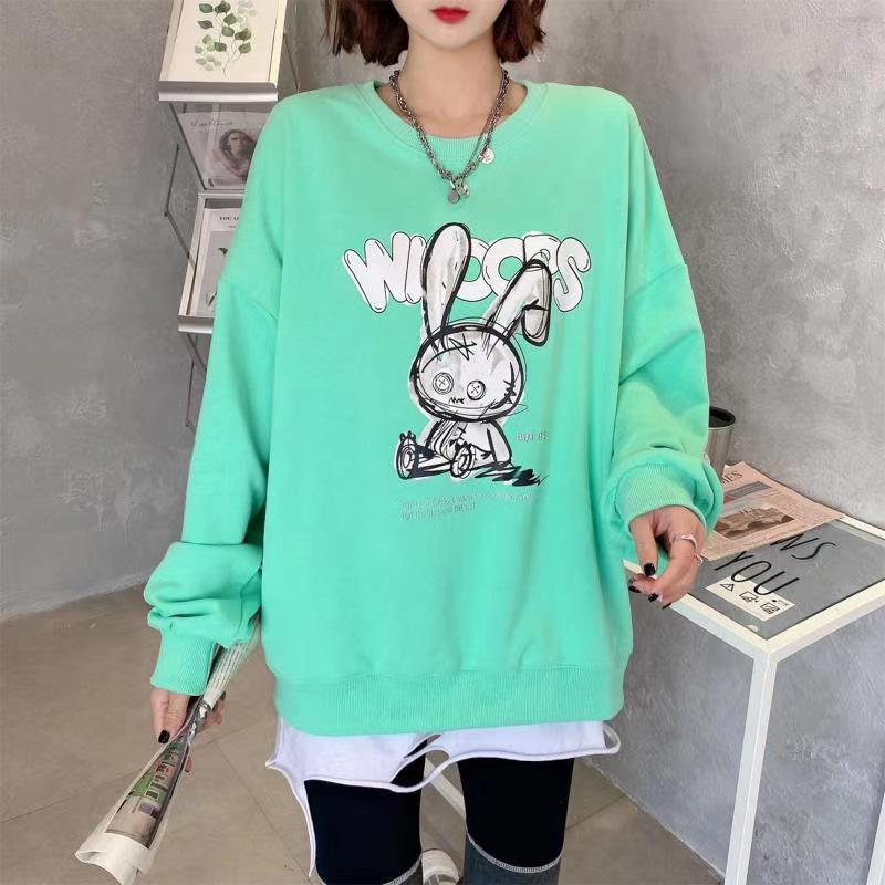 Modakawa Sweatshirt Green / One Size Cartoon Bunny Print Oversized Sweatshirt