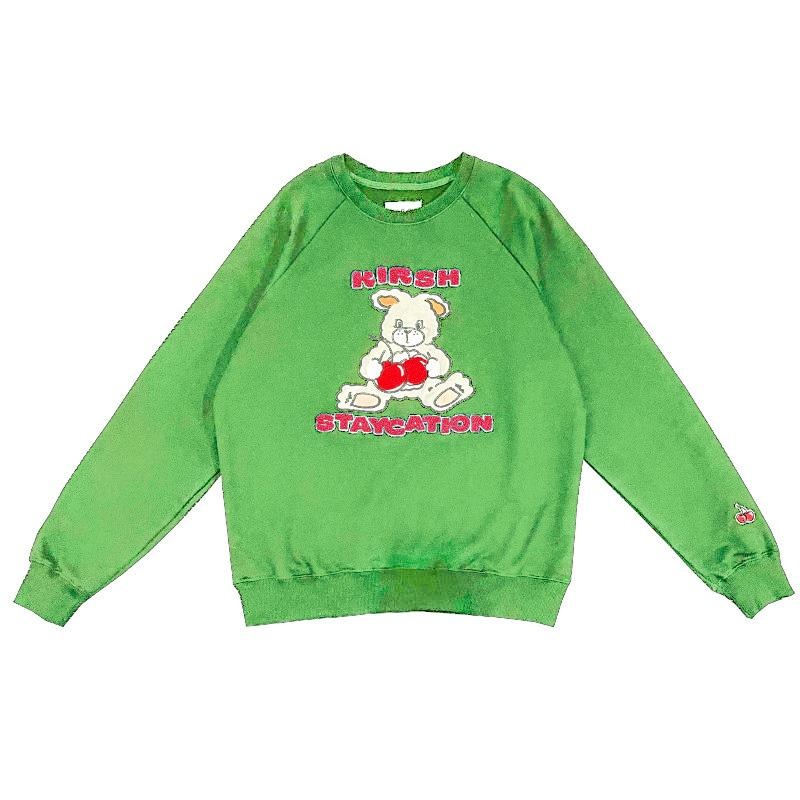 Modakawa Sweatshirt Green / One Size Cherry Bunny Print Loose Sweatshirt