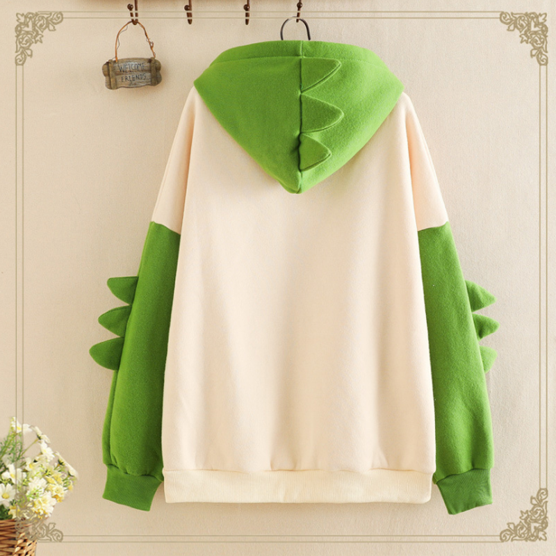 Modakawa Sweatshirt Green / One Size Cute Dinosaur Cartoon Brushed Hoodie