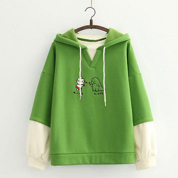 Modakawa Sweatshirt Green / One Size Dinosaur Cartoon Embroidery Color Block Hoodie
