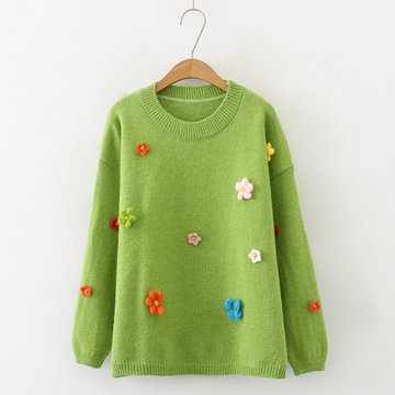 Modakawa Sweatshirt Green / One Size Sweet Flower Round Neck Sweater