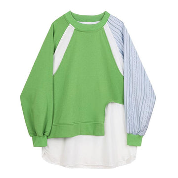 Modakawa Sweatshirt Green / S Color Block Stripe Fake Two-Piece Irregular Sweatshirt