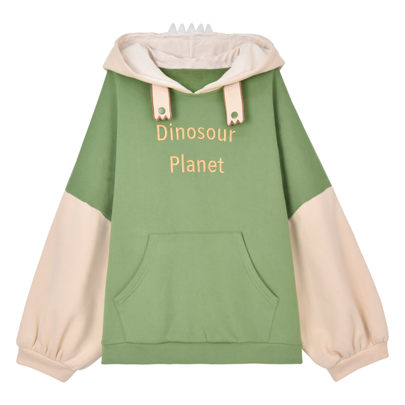 Modakawa Sweatshirt Green / S DINOSOUR PLANET Letter Embroidery Color Block Hoodie