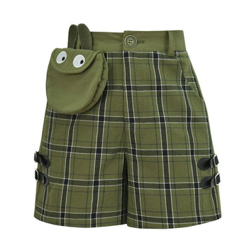 Modakawa Sweatshirt Green Shorts / S Bunny Plaid Button Crop Sweatshirt Frog Pocket Buckle Shorts