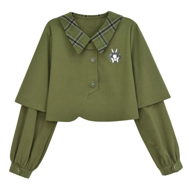 Modakawa Sweatshirt Green Sweatshirt / S Bunny Plaid Button Crop Sweatshirt Frog Pocket Buckle Shorts