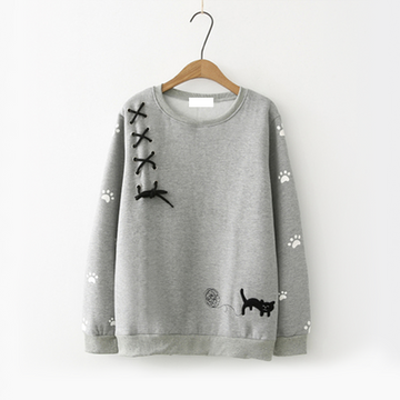 Modakawa Sweatshirt Grey Bow-Knot Kitty Yarn Ball Sweatshirt