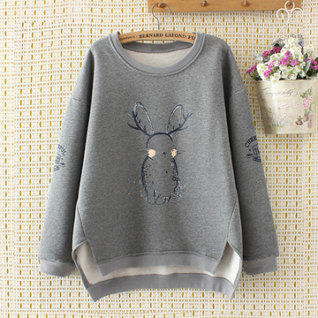 Modakawa Sweatshirt Grey / Rabbit / 2XL Cartoon Rabbit Deer Plush Warm Sweatshirt