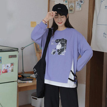 Modakawa Sweatshirt HAMMER HEART Cartoon Fake 2pcs Sweatshirt