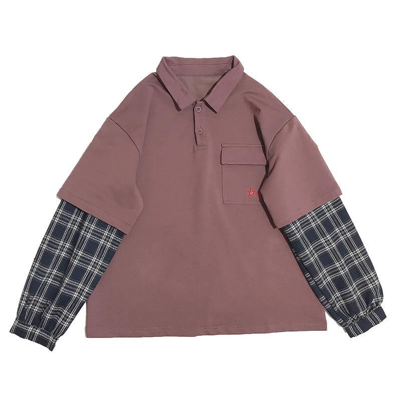 Modakawa Sweatshirt Harajuku Polo Plaid Starfish Embroidery Pocket Sweatshirt