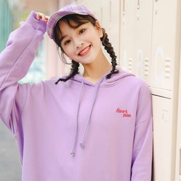 Modakawa Sweatshirt Heart pure Letter Embroidery Hoodies Sweatshirt
