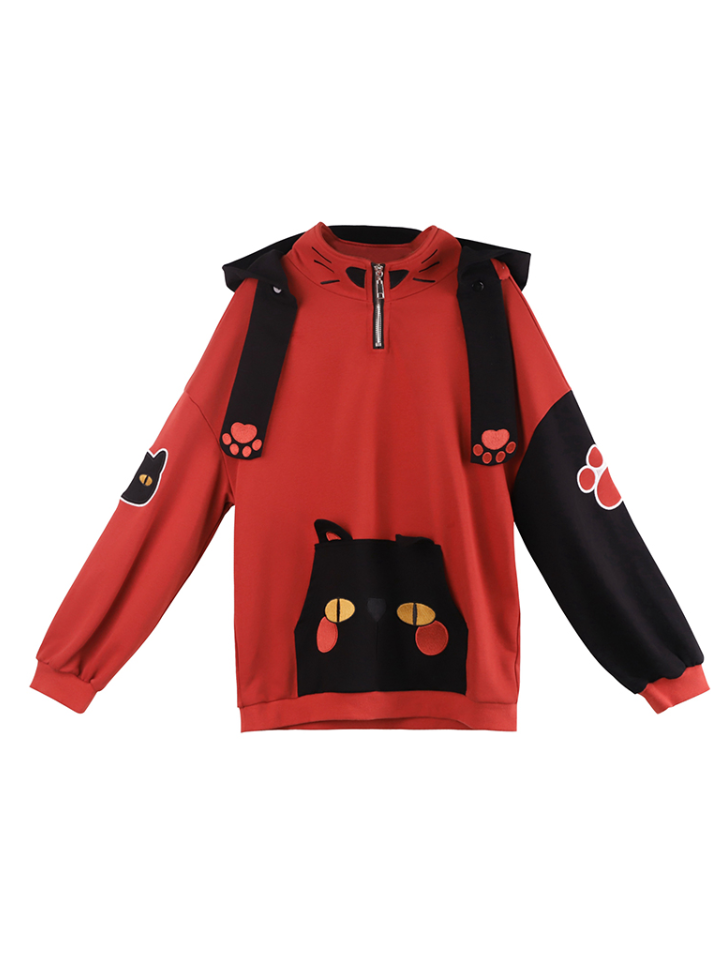 Modakawa Sweatshirt Japanese Black Cat Front Pocket Hoodie