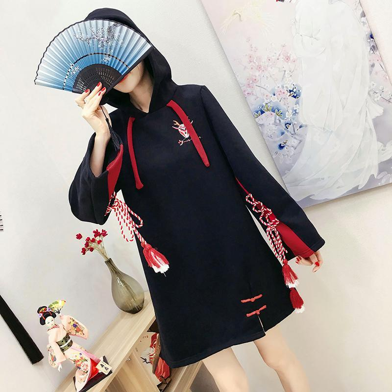 Modakawa Sweatshirt Japanese Cartoon Embroidery Tassels Hoodie Dress