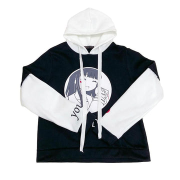 Modakawa Sweatshirt Japanese Cartoon Girl Love Heart Hoodie