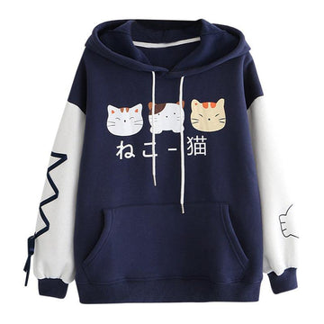 Modakawa Sweatshirt Japanese Cat Ears Color Block Hoodie