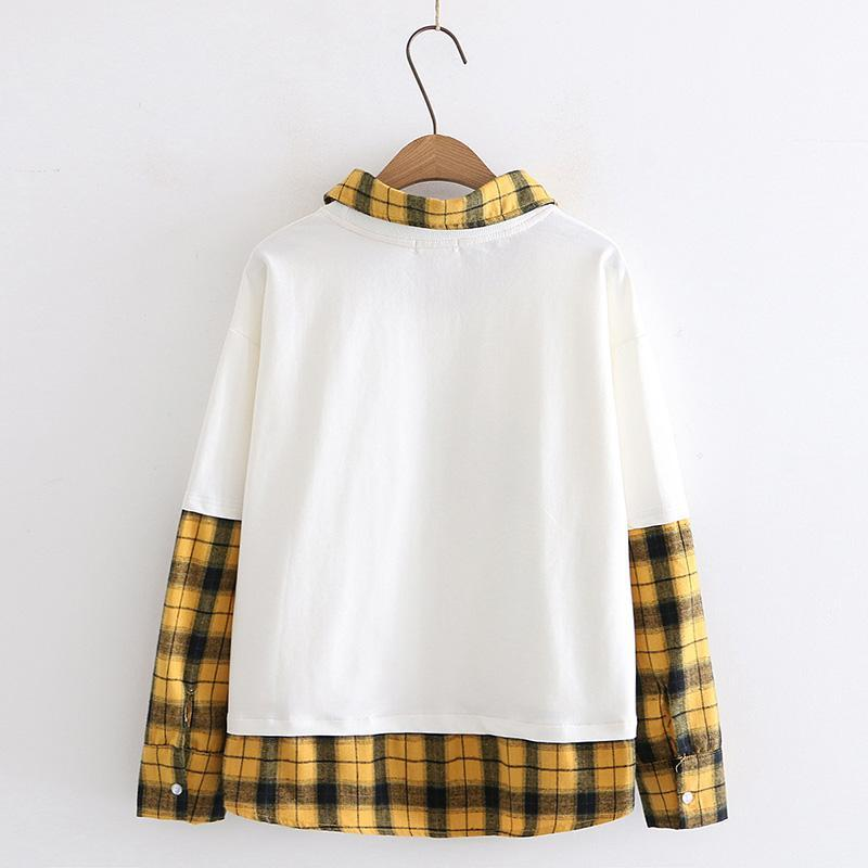 Modakawa Sweatshirt Japanese Cat Plaid Fake Two-Piece Sweatshirt