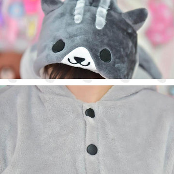 Modakawa Sweatshirt Japanese Kitty Ears Tail Pocket Cartoon Hoodie