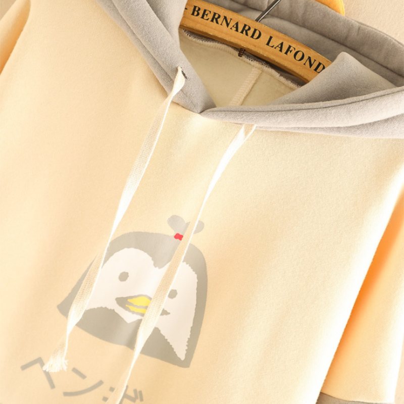 Modakawa Sweatshirt Kawaii Cartoon Penguin Brushed Hoodie