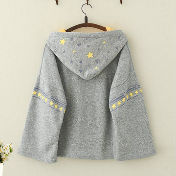 Modakawa Sweatshirt Kawaii Puppy Print Brushed Hoodie