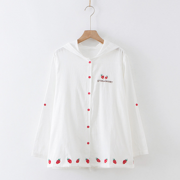 Modakawa Sweatshirt Kawaii Strawberry Embroidered Thin Coat