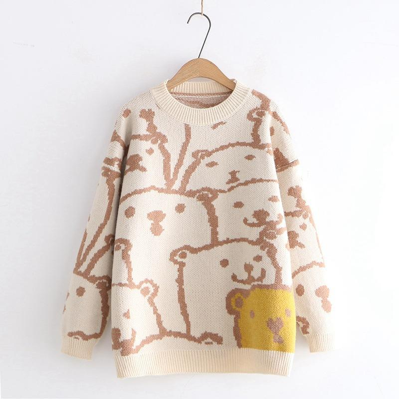 Modakawa Sweatshirt Khaki Bear Cartoon Loose Sweater