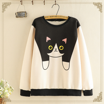Modakawa Sweatshirt Khaki & Black / One Size Cute Cat Cartoon Print Brushed Sweatshirt