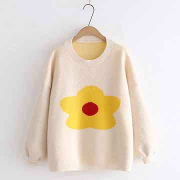 Modakawa Sweatshirt Khaki Flower Pattern Drop Shoulder Sweater