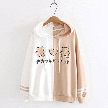 Modakawa Sweatshirt Khaki / M Bear Love Heart Embroidery Color Block Hoodie