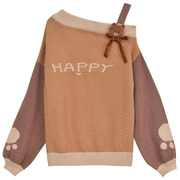 Modakawa Sweatshirt Khaki / M HAPPY Letter Bunny Bear Bow Color Block Sweater