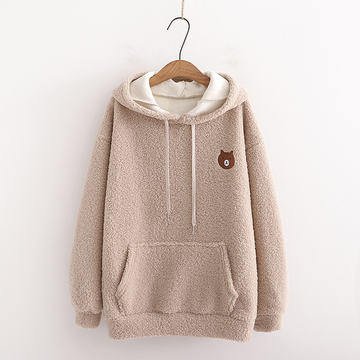 Modakawa Sweatshirt Khaki / One Size Bear Embroidery Pocket Plush Hoodie