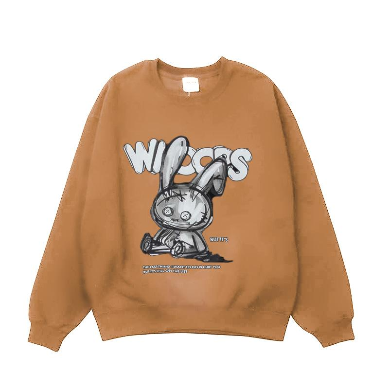 Modakawa Sweatshirt Khaki / One Size Cartoon Bunny Print Oversized Sweatshirt