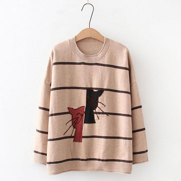 Modakawa Sweatshirt Khaki / One Size Cat Embroidery Stripe Knitted Sweater