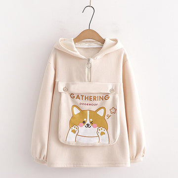 Modakawa Sweatshirt Khaki / One Size Dog Letter Print Ears Pocket Zipper Sweatshirt