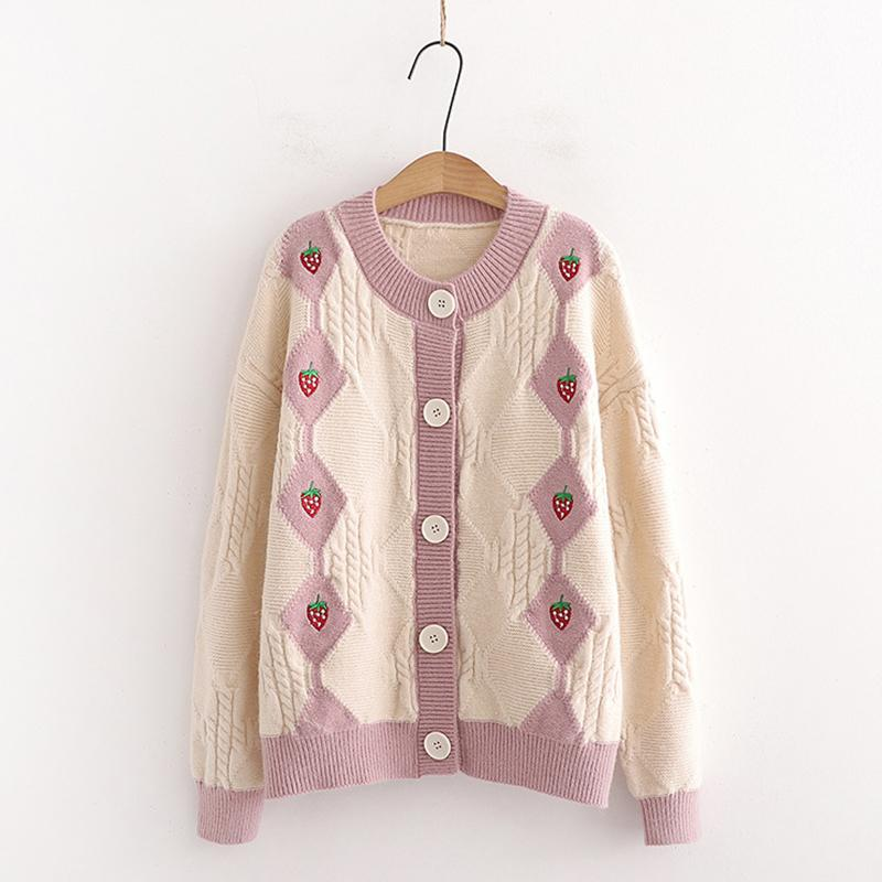 Modakawa Sweatshirt Khaki / One Size Strawberry Embroidery Button Knitted Cardigan