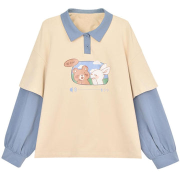 Modakawa Sweatshirt Khaki / S Bunny Bear Print Fake Two-Piece Polo Sweatshirt