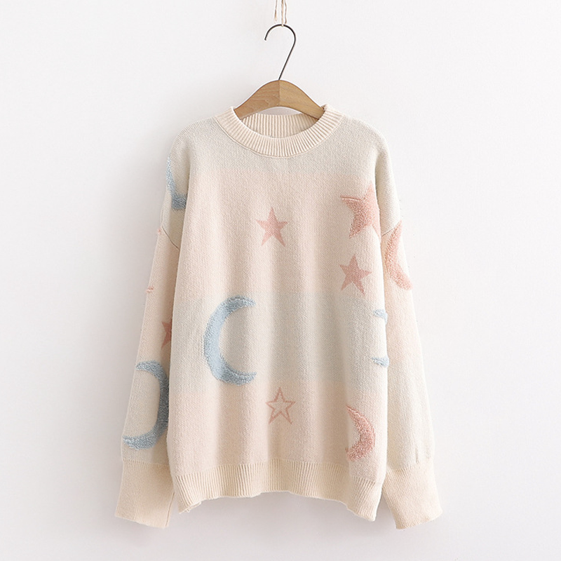 Modakawa Sweatshirt Khaki Star Moon Loose Sweater