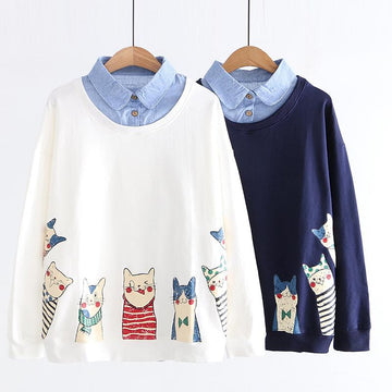 Modakawa Sweatshirt Kitty Cartoon Print Fake Two-Piece Sweatshirt