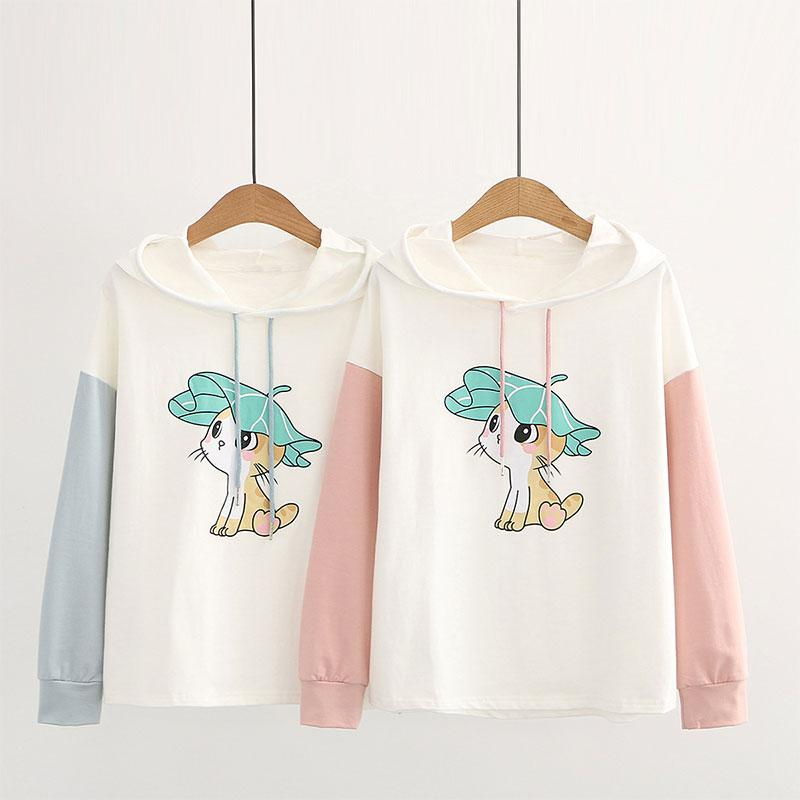 Modakawa Sweatshirt Kitty Ears Print Color Block Hoodie