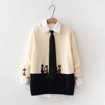 Modakawa Sweatshirt Kitty Embroidery Sweater Tie Shirt Two-Piece Set