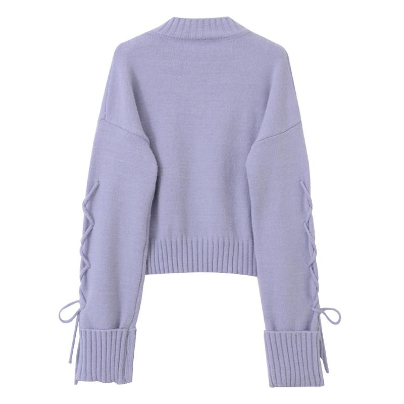 Modakawa Sweatshirt Lace Up Irregular Knitted Pullover Sweater